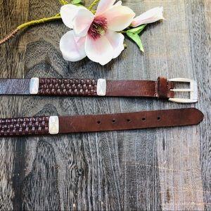 FOSSIL Leather Brown Belt Metal Details Large